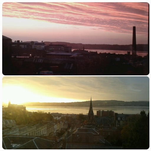 Sunrise views from the university building towards the river Tay