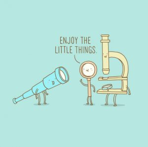 """cartoon: Microscope and Magnifying glass tell a telescope to """"enjoy the little things"""""""