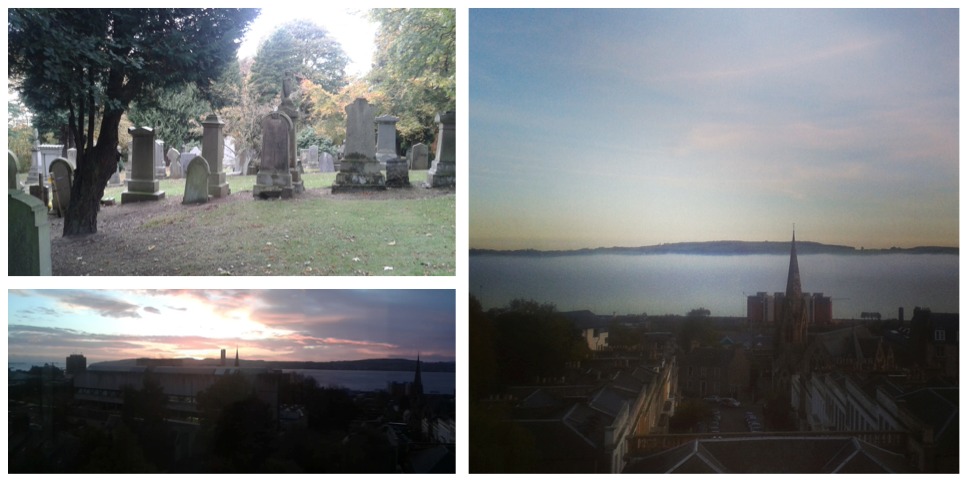 top left: Image of dundee cemetary, bottom left: sunrise over dundee. Right: Haar over the river Tay