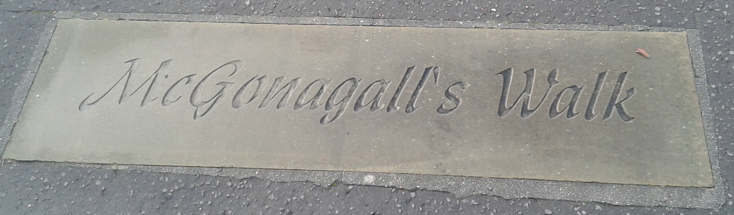 "Plaque on the ground saying ""McGonagall's Walk"""