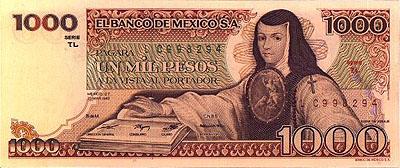 Juana Ines de la Cruz on a 1000 pesos bill