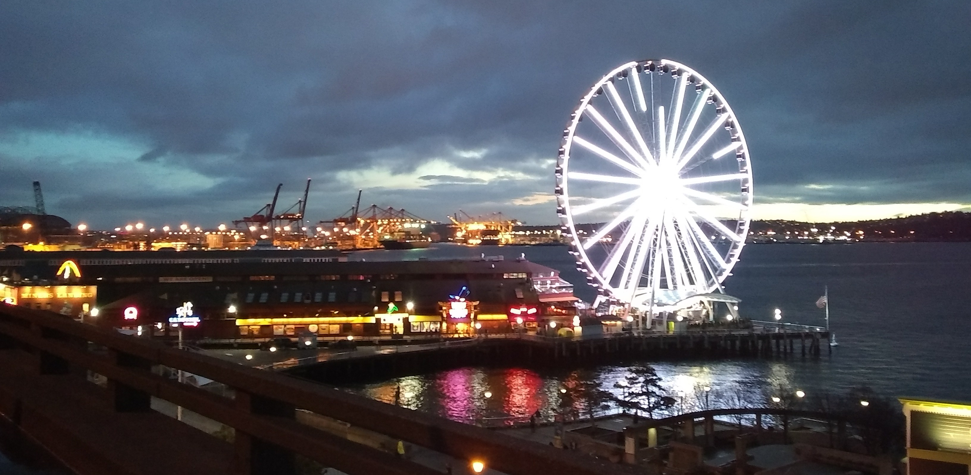 View of the Seattle docs and ferris wheel