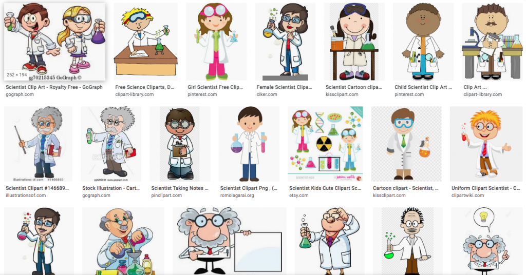 "Screen shot with the first few image results for ""scientists"" clip art"