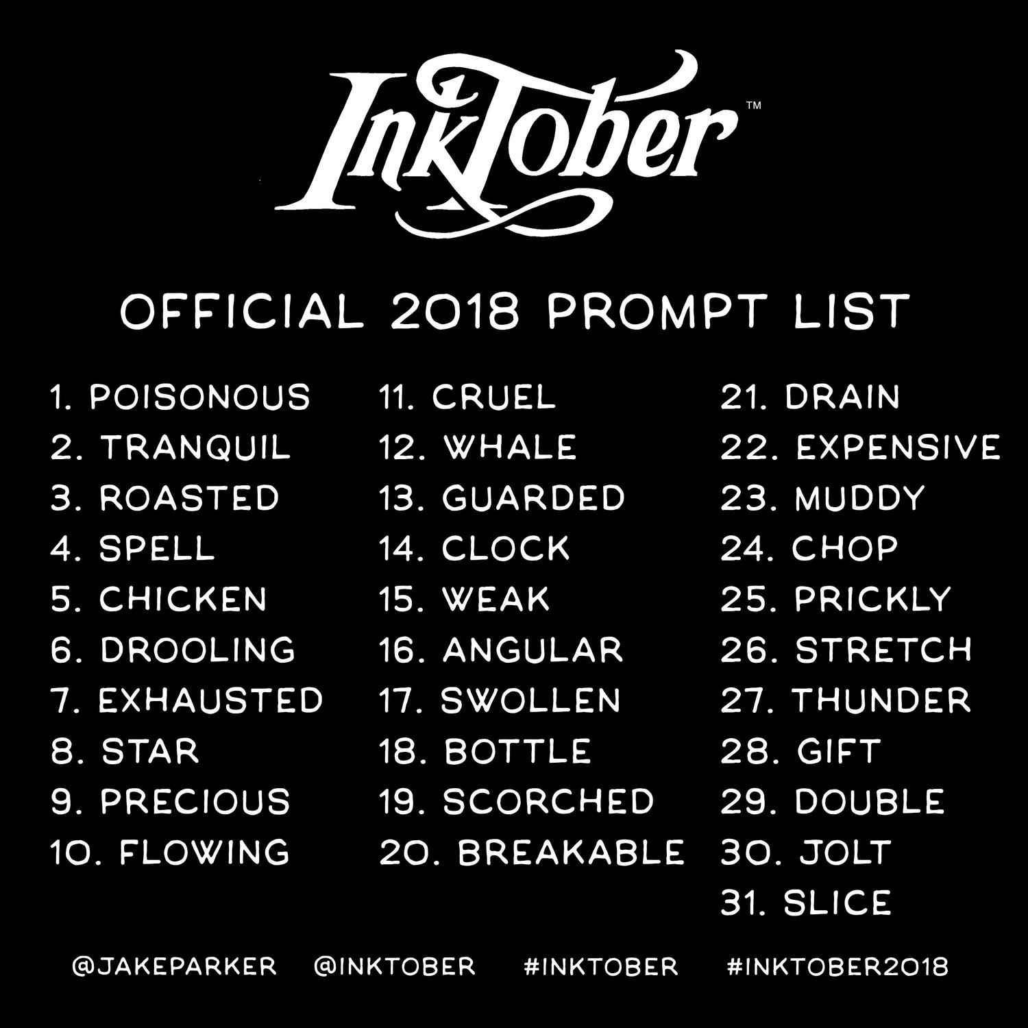 inktober prompt list 2018