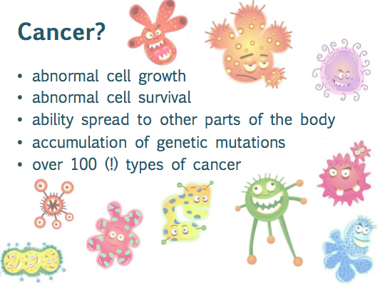 What is cancer? Abnormal cell growth, abnormal cell survival, the ability to spread to other parts of the body, an accumulation of genetic mutations.