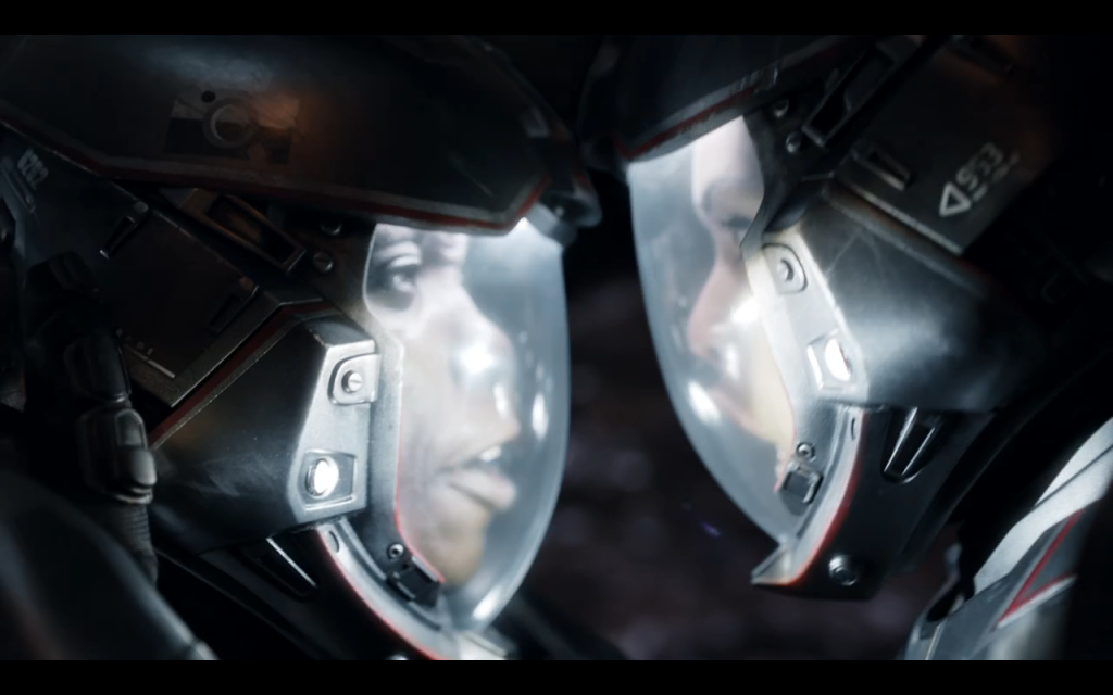 Two characters in space speaking by touching helmets