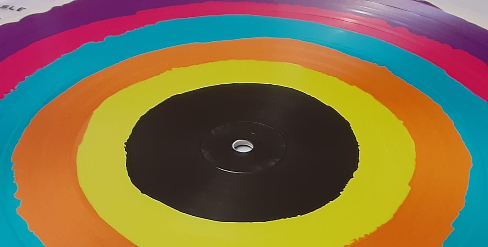 Rainbow colored vinyl record