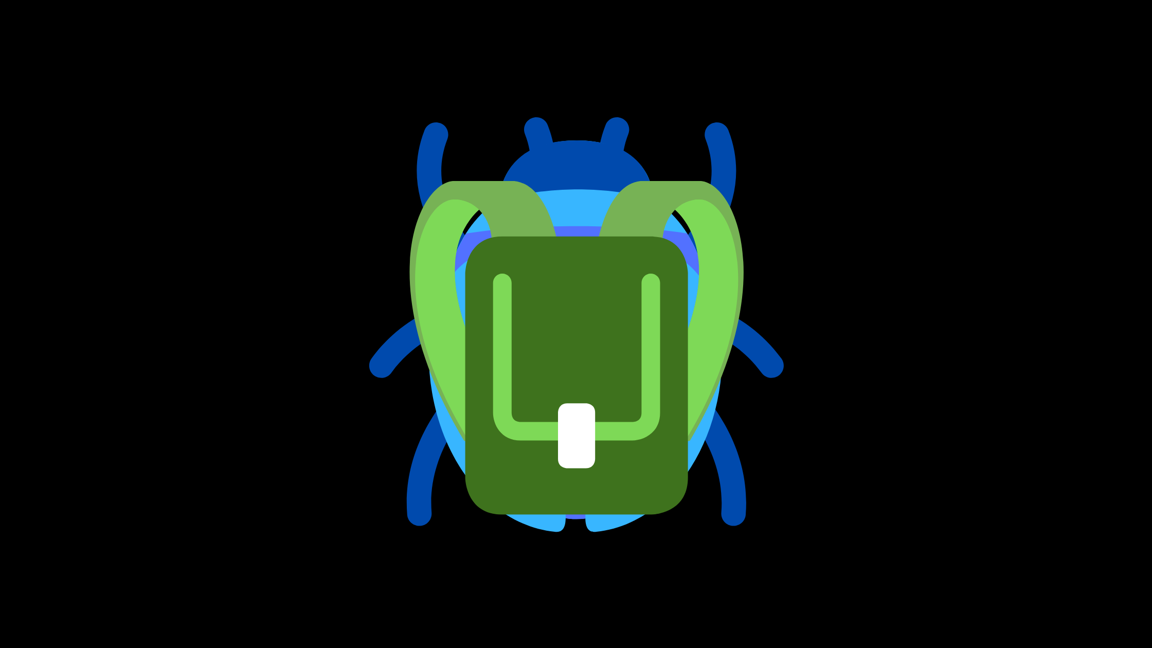 Cartoon of a beetle with a backpack