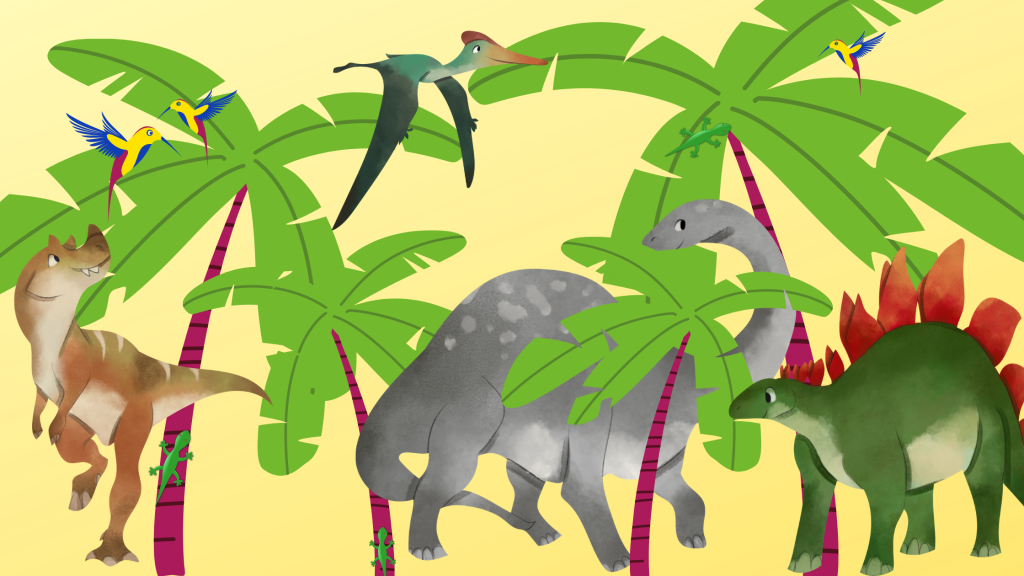 Cartoon image with palm trees, various dinosaurs, birds and lizards.