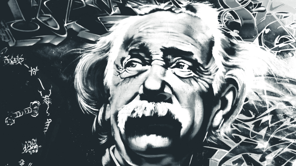 A black and white drawing of Einstein