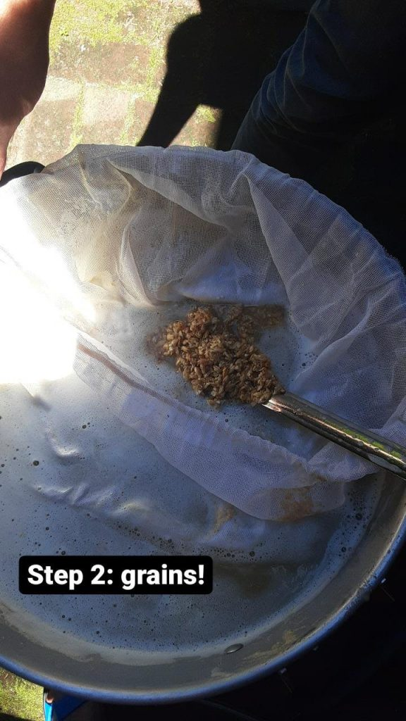 Picture of a mesh bag in the pot, with a spoon showing some grains. Text: Step 2: grains!